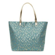 Stephanie Johnson Palm Springs Turquoise Lulu Tote - Metallic gold brush strokes against turquoise canvas. $84