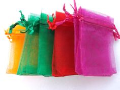 20 Organza bags Bright Sheer Pink Green Red Orange by sweetiefluhr, $4.19