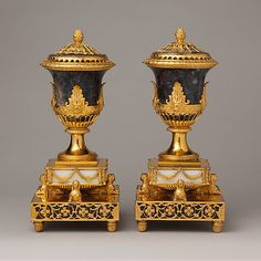 A pair Perfume Burners Blue John Derbyshire spar, tortoiseshell, and wood Carrara marble base, gilded brass mounts, gilded copper liner Late 1700 most likely by Fothergill and the Mathew Bolton Factory in Birmingham England Art Nouveau, Strange Events, Urn Vase, Vase Centerpieces, Metropolitan Museum, Antique Furniture, Art Decor, Vintage Items, Perfume Bottles