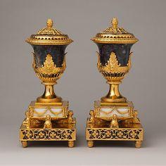 Pair of perfume burners Matthew Boulton (British, Birmingham 1728–1809 Birmingham) Maker: and James Fothergill (died 1782) Date: probably ca. 1770
