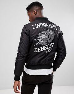 Lindbergh Embroidered Bomber Jacket in Black
