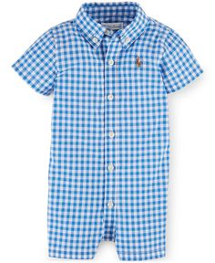 Ralph Lauren Baby Boys  Cotton Poplin Shortall Kids - All Baby - Macy s c9ee09d9bd9