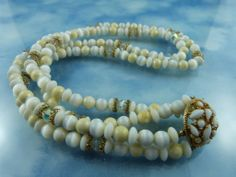 50% Off Entire Shop: Milk Glass Crystal & Plastic Bead Necklace With Decorator Clasp
