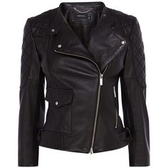 Karen Millen Leather Quilted Sleeve Biker Jacket, Black ($440) ❤ liked on Polyvore featuring outerwear, jackets, coats, motorcycle jacket, black biker jacket, black jacket, leather-sleeve jacket and black moto jacket