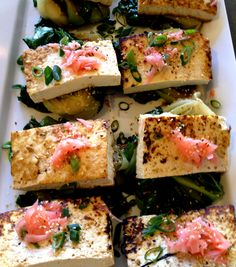 Asian seared tofu with ginger on bok choy #HudsonValley #take out #catering #desserts