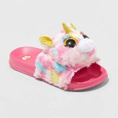 d7d82895886 Beanie Boos Girls  Fantasia Beanie Boo Pool Slide Sandals Unicorn Fashion