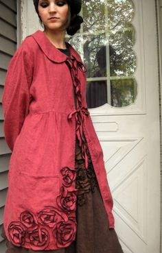 What a lovely coat. CUSTOM ORDER for loveforlife Rosey Linen by sarahclemensclothing, $189.00