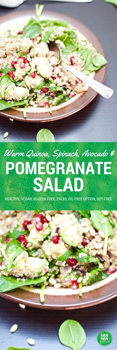 Warm Quinoa, Spinach & Pomegranate Salad | WIN-WINFOOD.com Delicious, healthy and ready in 30 minutes!