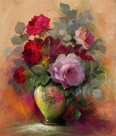 Gary Jenkins Oil Painting of Roses Arte Floral, Gary Jenkins, Painting & Drawing, Watercolor Paintings, Floral Paintings, Beautiful Roses, Beautiful Paintings, Art Google, Art Oil