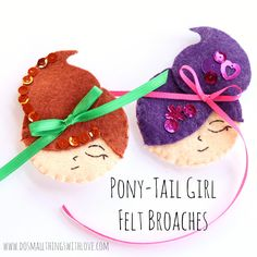 Small Things: Pony Tail Girl Broach {with free template}