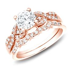 Auriya 14k Rose Gold 1ct TDW Certified Diamond Braided Bridal Ring Set (H-I, SI1-SI2). Get free delivery at Overstock.com - Your Online Jewelry Destination! Get 5% in rewards with Club O!