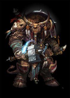 World of Warcraft: Uncle Tauren by jojo so Fantasy Races, Fantasy Warrior, Fantasy Creatures, Mythical Creatures, Blizzard Warcraft, War Craft, Casper The Friendly Ghost, Warcraft Art, Fantasy Art