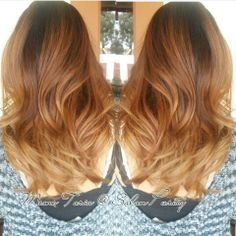 dark brown base melting into redbrown and blonde ombre