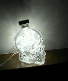 Upcycled Crystal Head Skull Vodka Bottle Lamp Light Rare - by iluvlamp in Home, Furniture & DIY, Lighting, Lamps | eBay
