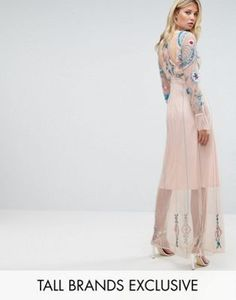 Frock And Frill Tall Floral Embroidered Mesh Maxi Dress With Gathered Cuff And Open Back Detail