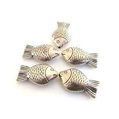 Bead Five Large Silver Fish by CinLynnBeads on Etsy, $1.50