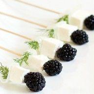 Rosemary, feta and blackberry skewers