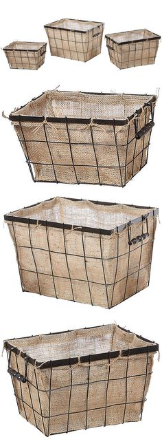 """S/3 Burlap Lined Baskets :: $99, Retail $170 