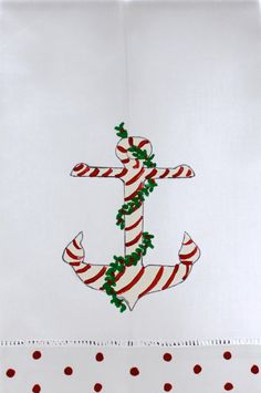 Nautical Christmas Anchor Guest Towel by LemondaisyDesign on Etsy, $15.00