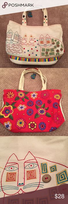 Cat tote Laurel Burch In need of cleaning on outside but inside good condition. Cats on one side flowers on the other. Zip top. Wooden cat tag. 18x12x6 Laurel Burch Bags Totes