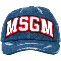 MSGM logo patch denim cap ($243) ❤ liked on Polyvore featuring men's fashion, men's accessories, men's hats, blue, mens caps and hats and mens denim hats