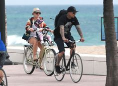 Pink and her family take a bike ride in Miami, FL