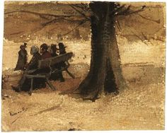 Four People on a Bench Vincent van Gogh Watercolor, Transparent and opaque watercolour, pen in brown ink, on watercolour paper The Hague: September, 1882