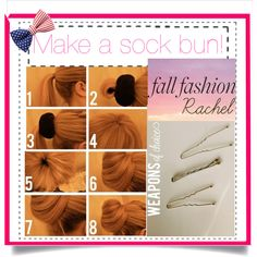 Requested by @fashionistajc   Things you'll need: -hair donut -hair  1.Put your hair in a ponytail 2.Thread your ponytail through the hair donut 3.Smooth your hair over the hair donut, distributing your hair evenly 4.Put a second hair band over the hair donut 5.Pin the extra hair around the bun