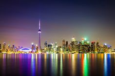 """""""Toronto Skyline"""" << I haven't been to Toronto in years. Love visiting Chinatown and all the little shops there. Toronto Skyline, New York Skyline, Moving To Toronto, North York, Worldwide Travel, Night City, Toronto Canada, Beautiful Buildings, Beautiful Places"""