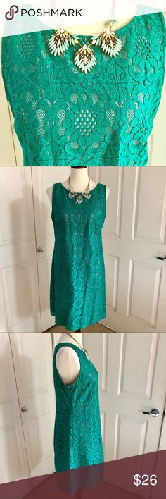 Eliza J Green Lace Overlay Dress Eliza J Green Lace Overlay Dress is an easy A-line fit, back zip and just an easy dress to wear! Goes great for so many occasions. If you want the necklace, make an offer and leave a comment that your offer is for dress + necklace.  Otherwise, necklace is not included. Bundle 3 or more items for 15% or more off! Reasonable offers welcomed! Eliza J Dresses