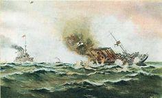 HMS Highflyer (1898) sinking SMS Kaiser Wilhelm de Grosse.