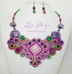 Soutache necklace -  pink and green, pantone
