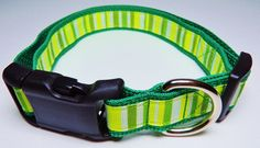 X-Large Green/White Striped Dog Collar by WildThingzPetGear on Etsy