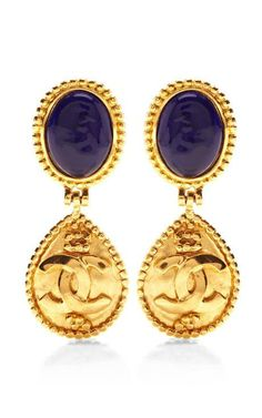 Vintage Chanel Blue Gripoix With Gold Dangle Earrings by What Goes Around Comes Around for Preorder on Moda Operandi