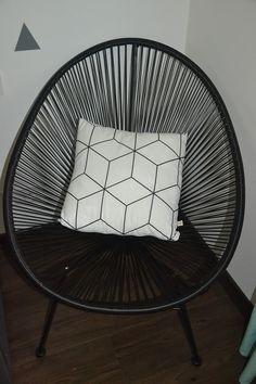 Housse de coussin tissu graphic et verso noir : Textiles et tapis par june-boutik