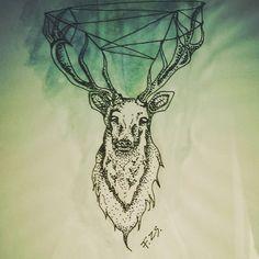 #deer #art #artwork #tattodesign #dotwork #blue #green #draw #myartwork