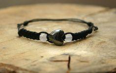 Bracelet Heart Hematite and Rose Quartz Handmade by TriouZ on Etsy, £6.49