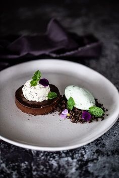 Dark Chocolate Delice, Chocolate Soil & Mint Ice-cream - Temptation For Food Gourmet Desserts, Plated Desserts, Delicious Desserts, Dessert Recipes, Yummy Food, Healthy Food, Chocolate Soil, Chocolate Desserts, Melting Chocolate