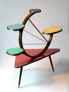 Delightful Atomic Furniture | Mid Century Atomic Plant Stand | Furniture