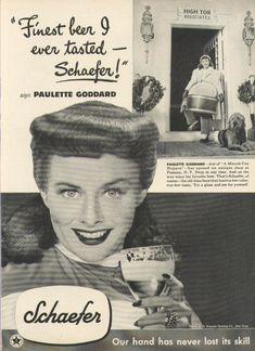 0 Paulette Goddard for Schaefer Beer ad 1948