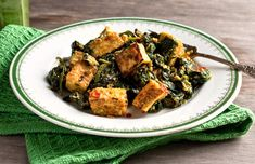 Alkaline Diet Recipe #116: Tofu with Indian Spinach - This is a delicious and alkaline recipe using tofu and spinach as the main ingredients. It has got a lovely texture and an interesting flavour given by the variety of spices used in this recipe.  Serves 2.