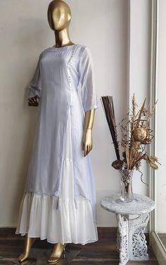 Powder Blue Mirror-work Kurta with Inner Dress - LabelKanupriya Dress Neck Designs, Designs For Dresses, Blouse Designs, Stylish Dresses, Casual Dresses, Fashion Dresses, Frock Fashion, Formal Outfits, Fashion Sewing