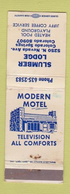 Matchbook Cover - Slumber Lodge at 5250 N. Nevada Ave in Colorado Springs, CO