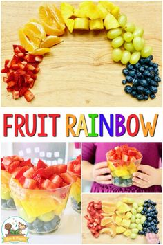 Rainbow Fruit Cups Healthy Preschool Snack - Pre-K Pages, Fruit Rainbow Snack and book activity. Healthy snack idea for a rainbow theme or St. You can spark their interest and motivate them by . Rainbow Snacks, Rainbow Fruit, Rainbow Theme, St Patrick Day Snacks, St Patricks Day Food, Healthy Fruit Snacks, Healthy Preschool Snacks, Summer Salads With Fruit, Creative Snacks