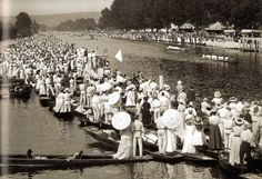 London Olympics 1908 - General view of the action as Great Britain, represented by the Leander club, beat Belgium to win the gold in the Coxed Eights at Henley.