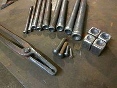 Top and bottom rivet snaps, handmade ironwork by Tom Fell - Blacksmith