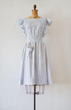 vintage 1940s blue striped seersucker pinafore dress