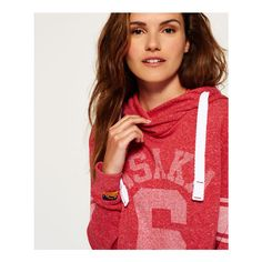 Superdry Osaka Sport Cropped Marl Hoodie ($40) ❤ liked on Polyvore featuring tops, hoodies, red, lightweight hoodie, striped crop top, red hooded sweatshirt, fleece lined hooded sweatshirt and hooded sweatshirt
