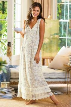 Note To Self Gown - Cotton Gauze Nightgown, Lightweight Crinkle Nightgown   Soft Surroundings- Mother's Day.