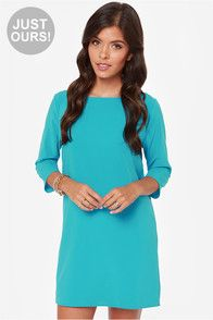 LULUS Exclusive Open Heart Bright Blue Shift Dress